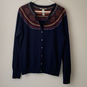 LUCKY BRAND Navy Aztec Beaded Cardigan Sweater L